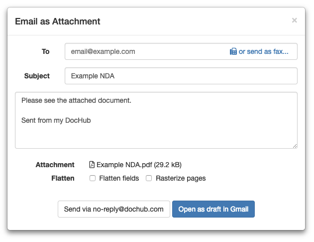 Share or send documents and PDFs – DocHub
