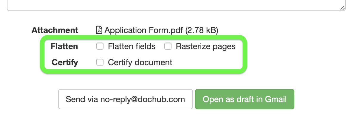 Send your document via email as a PDF attachment – DocHub